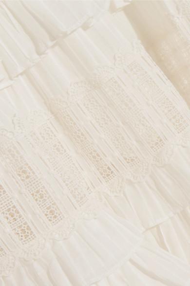 Zimmermann Corsair gestufter Midirock aus Baumwolle mit Lochstickerei