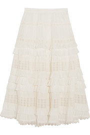 Zimmermann Corsair tiered broderie anglaise cotton midi skirt