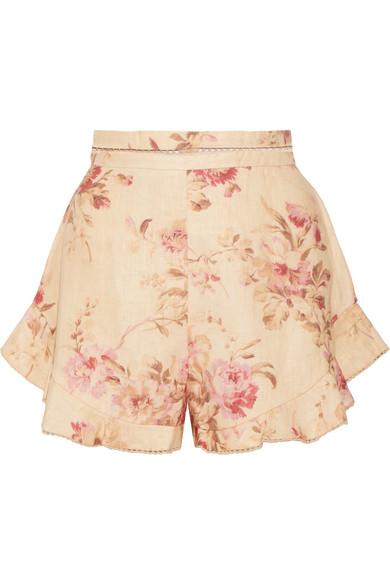 Zimmermann Corsair Flutter Shorts aus Leinen mit Blumenprint und gehäkelten Details