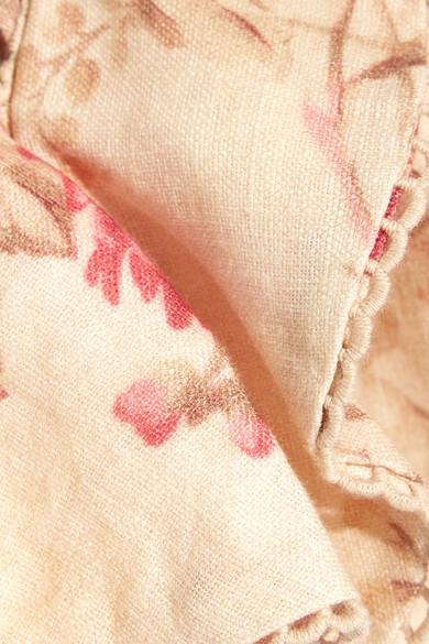 Zimmermann Corsair Flutter rückenfreies Oberteil aus Leinen mit Blumenprint und Häkeleinsätzen