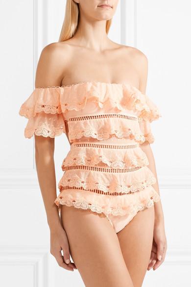 Zimmermann Painted Heart Love mehrstufiger Badeanzug aus Spitze mit eingewebten Punkten und Leiterhohlstich