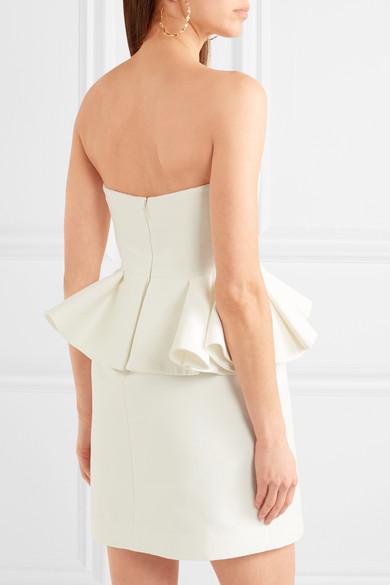 Halston Heritage Kleid aus einer Baumwoll-Seidenmischung mit Schößchen