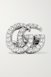 18-karat white gold diamond clip earring