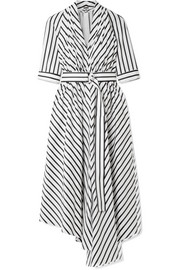 Adam Lippes Asymmetric pleated striped cotton-poplin midi dress