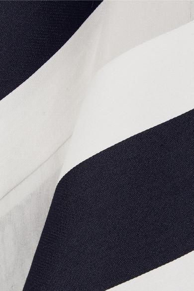 Adam Lippes Midikleid aus einer gestreiften Baumwoll-Seidenmischung mit Gürtel