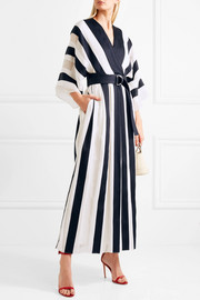 Adam Lippes Belted striped cotton and silk-blend midi dress