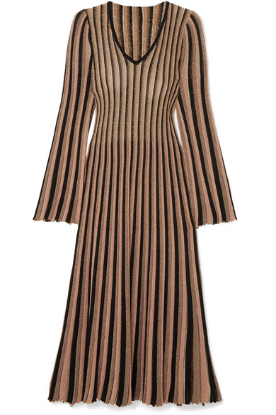 Pleated Striped Metallic Knitted Midi Dress - Gold Adam Lippes Clearance Footlocker Pictures viuIr
