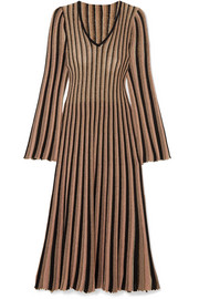 Adam Lippes Pleated striped metallic knitted midi dress