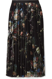 Adam Lippes Pleated floral-print chiffon midi skirt