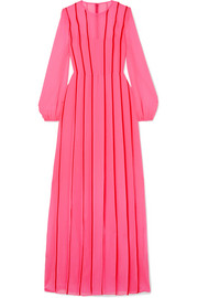 Adam Lippes Satin-trimmed pleated silk-chiffon gown