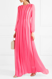 Satin-trimmed pleated silk-chiffon gown