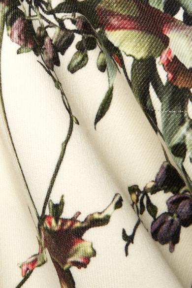 Adam Lippes Midikleid aus Wolle mit floralem Print