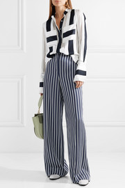 Adam Lippes Striped cotton and silk-blend jacquard blouse