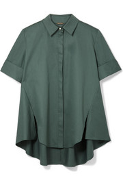 Adam Lippes Faux pearl-embellished cotton-poplin shirt