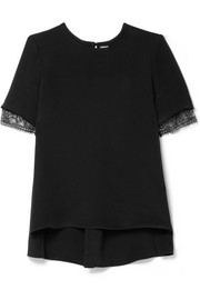 Adam Lippes Asymmetric lace-trimmed silk-satin crepe top
