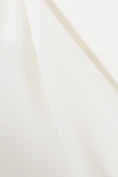 Adam Lippes Asymmetrisches Oberteil aus glänzendem Crêpe aus Seide mit Spitzenbesatz