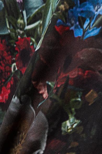 Adam Lippes Seidenoberteil aus Crêpe de Chine mit Falte und Blumenprint
