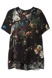 Adam Lippes Pleated floral-print silk crepe de chine top