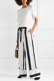 Adam Lippes Striped cotton and silk-blend jacquard wide-leg pants