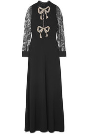 Gucci Crystal-embellished lace-paneled cady gown
