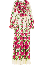 Gucci Ruffled floral-print silk-twill gown