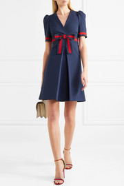 Gucci Grosgrain-trimmed stretch-ponte mini dress