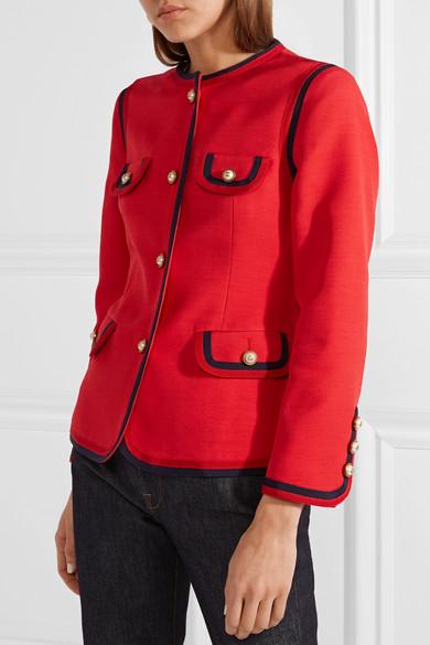 Ansehen Günstig Online Gucci Jacke aus einer Woll-Seidenmischung mit Kunstperlenverzierung Zu Verkaufen guJcLALT