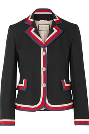 Gucci Striped silk and wool-blend crepe blazer