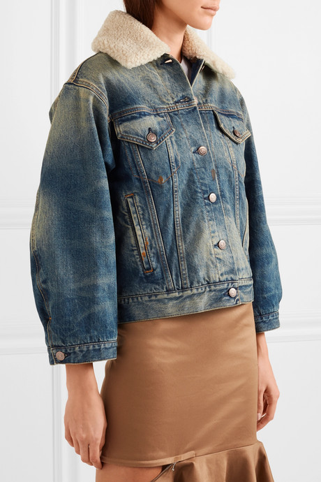 Appliquéd shearling-trimmed denim jacket