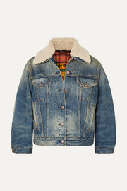 Gucci Appliquéd shearling-trimmed denim jacket
