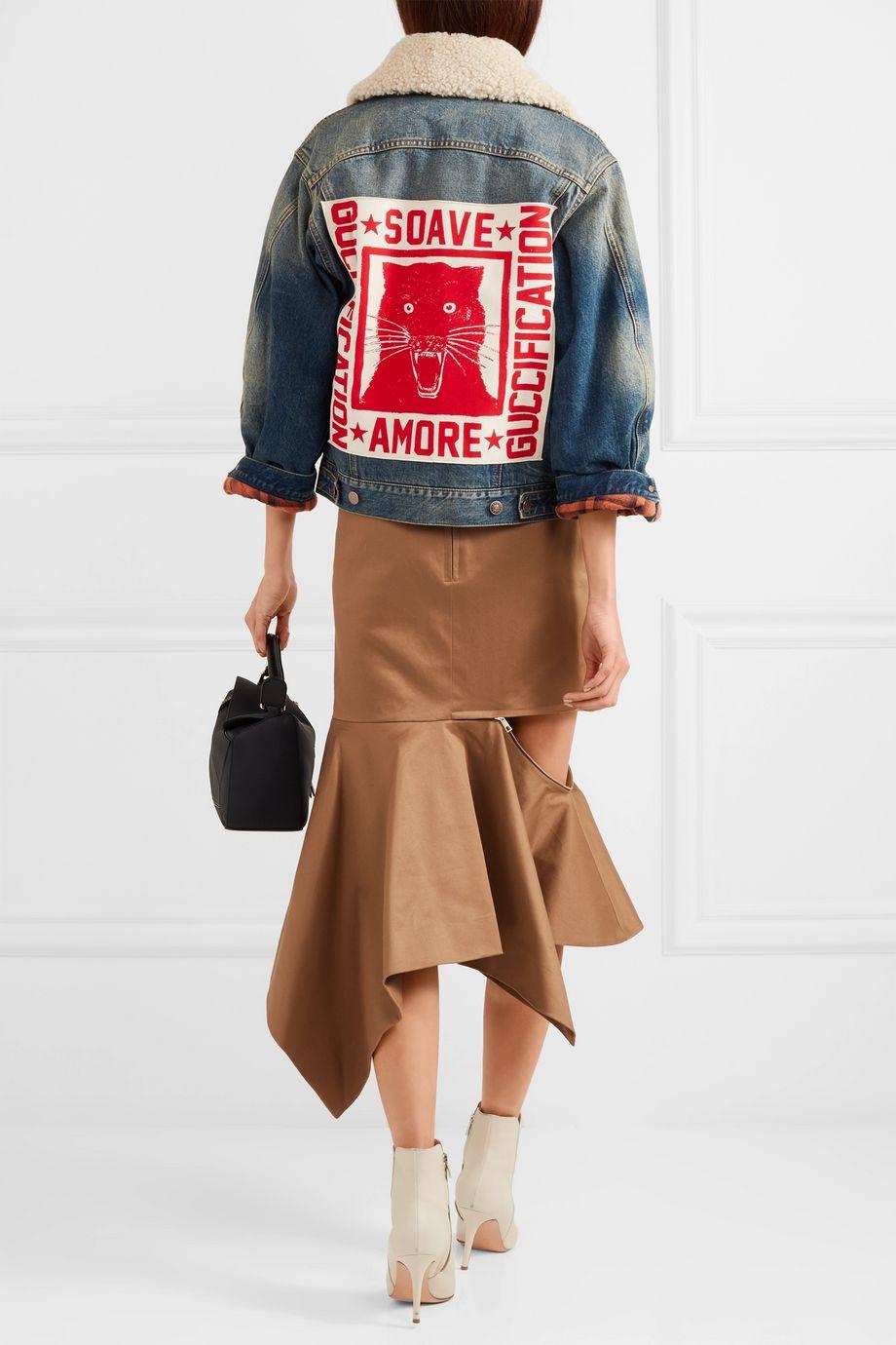 Gucci Appliquéd shearling-trimmed denim jacket