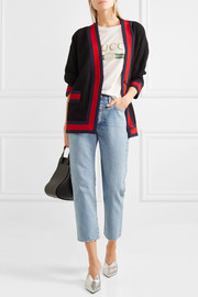 Gucci Grosgrain-trimmed cotton-blend tweed cardigan