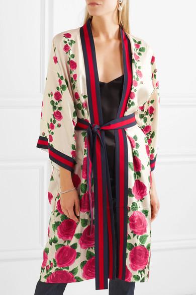 Le Jardin de Rose grosgrain-trimmed printed silk-twill robe