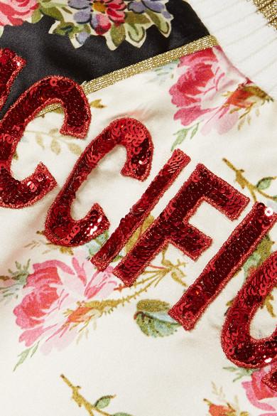 Gucci Bomberjacke aus Duchesse-Seide mit Blumendruck und Applikationen Schlussverkauf Verkauf Angebote Günstig Kauft Besten Platz Ausverkaufs-Shop gZrcDTKYnK