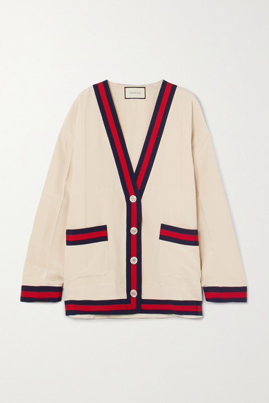 Oversized Grosgrain Trimmed Silk Crepe De Chine Cardigan by Gucci