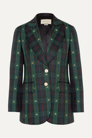 Embroidered checked wool blazer
