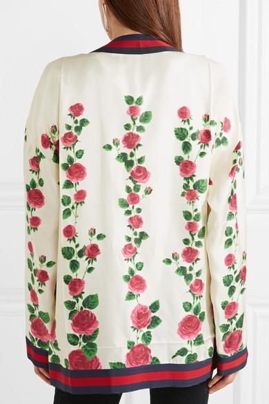 Rabatt Zum Verkauf Kauf Verkauf Online Gucci Cardigan aus floral bedrucktem Seidensatin mit Ripsbandbesatz OAQu8L3y