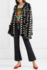 Oversized wool and cashmere-blend jacquard jacket