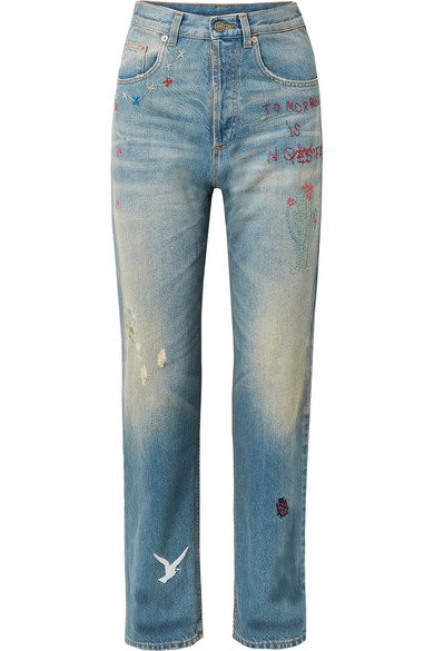 Embroidered straight-leg jeans Gucci sxzdNZ