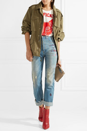 Gucci Embroidered distressed high-rise straight-leg jeans