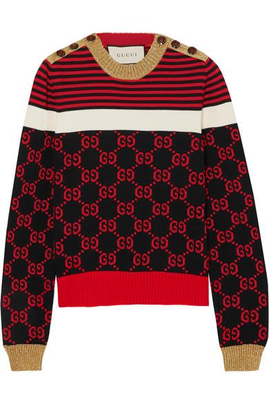 Gucci Pullover aus Baumwolle mit Intarsienmotiv und Metallic-Details Rabatt Mit Paypal Neuesten Kollektionen Verkauf Online DTu06hWSF