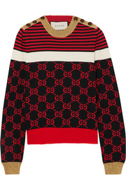 Gucci Metallic-trimmed intarsia cotton sweater