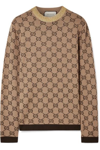 d365be2a2a872 Gucci | Metallic-trimmed intarsia wool sweater | NET-A-PORTER.COM