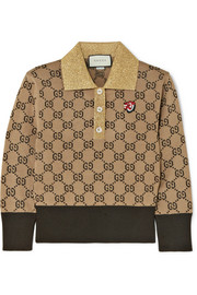 Gucci Metallic-trimmed intarsia wool sweater