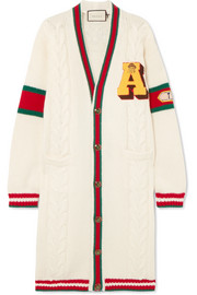 Gucci Appliquéd cable-knit wool cardigan