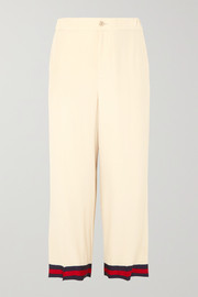 Gucci Grosgrain-trimmed silk crepe de chine wide-leg pants