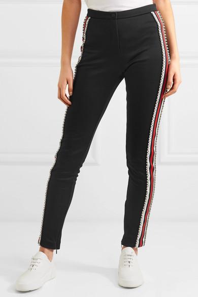 Gucci Crystal-Embellished Striped Tech-Jersey Stirrup Leggings, Black-White Stripe