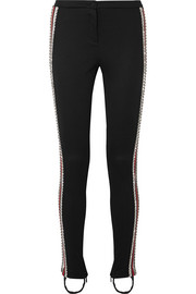 Gucci Crystal-embellished striped tech-jersey stirrup leggings