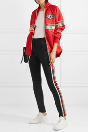 Crystal-embellished striped tech-jersey stirrup leggings