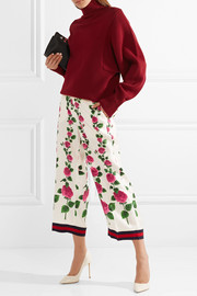 Gucci Cropped grosgrain-trimmed floral-print silk-twill wide-leg pants